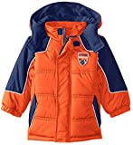 iXtreme Little Boys' Cut and Sew Colorblock Winter Puffer Jacket Coat, Navy Orange, 2T