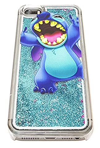 iPhone 5 5S SE Cute 3D Cartoon Lilo Stitch Liquid Glitter Case, Luxury Liquid Quicksand Floating Bling Glitter Sparkle Creative Design Case Cover For iPhone 5 5S SE (Stitch Cell Phone Case)