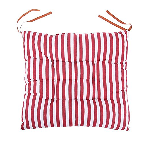 CACIHOM Chair Pad Indoor Soft Stripe Chair Cushions Dining Stool Seat Mat Non-Slip Home Office Chair Cushion with Ties (Red) (Stripe Office Chair)