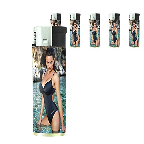 Italian Italy Pin Up Girls Model Set of 5 Lighters S7 Electronic Refillable Flame Cigarette Smoking by JS & Caren