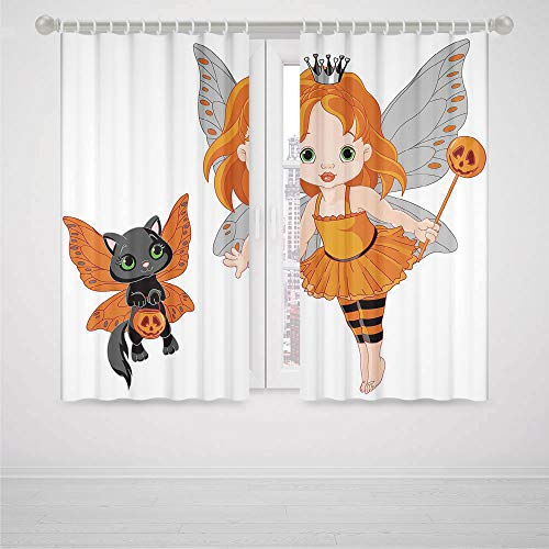 iPrint Galaxy Blackout Curtains Halloween Halloween Baby Fairy and Her Cat in Costumes Butterflies Girls Kids Room Decor Decorative High-Precision Blackout CurtainMulticolor