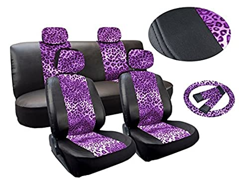 Leopard Purple Print Deluxe Leatherette 13pc Full Car Seat Cover Set Premium Synthetic Leather Double Stitched - Low Back Front Bucket Seats - Rear Bench - Steering Wheel Set - 4 (Safari Print Seat Covers)