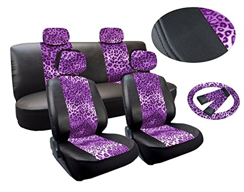 17 Piece Leopard Print Deluxe Leatherette Full Car Seat Cover Set Premium Synthetic Leather Double Stitched - Low Back Front Bucket Seats - Rear Bench PLUS FREE Steering Wheel Set (Purple) (Leather Print Synthetic)