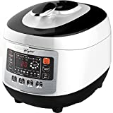 pressure cooker basics - Pressure Cooker with Digital Display, 5 Liter - 8 in 1 Multiple Cooking Options - Includes Measuring Cup, Rice Paddle, Ladle & Steam Rack - By Keyton