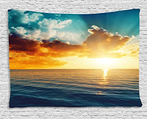 """Ocean Tapestry, Majestic Sunset Over The Sea Scenic Idyllic Aquatic View Morning Picture, Wide Wall Hanging for Bedroom Living Room Dorm, 80"""" X 60"""", Turquoise Orange"""