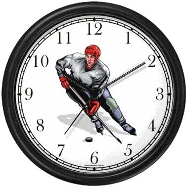 Hockey Player No.2 Ice Skating Theme Ice Skating Wall Clock by WatchBuddy Timepieces Hunter Green Frame