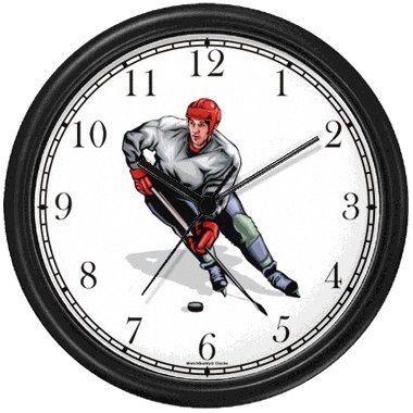 Hockey Player No.2 Ice Skating Theme Ice Skating Wall Clock by WatchBuddy Timepieces (White Frame)