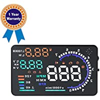 Arpenkin A8 Car Heads Up Display 5.5 Screen OBD2 EOBD Interface Car HUD with OverSpeed Warning Vehicle Speed Engine Speed Water Temperature