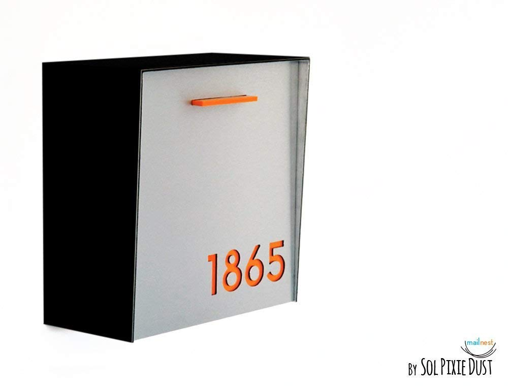 Modern Mailbox with Aluminium Brushed Silver Face, Black Aluminum Body and Orange Acrylic,Custom Modern Mailbox,Wall Mounted Mailbox,Type 1
