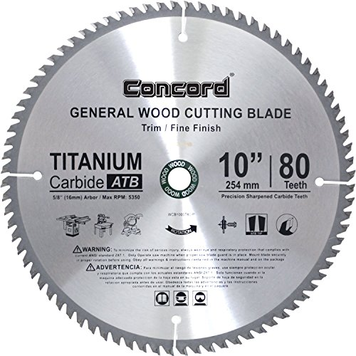 Concord Blades WCB1000T080HP 10-Inch 80 Teeth TCT General Purpose Hard & Soft Wood Saw Blade (Renewed)