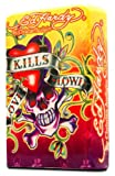 Ed Hardy Jumbo Table Lighter Cigarette Cigar Oversized, Tattoo Artist Christian Audigier Flip-Top Refillable (Love Kills Slowly)