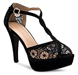OLIVIA K Women's Peep Toe Lace Bridal High Heel T-Strap Enjoyable Platform Pumps Sandals Shoes