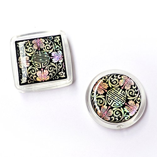 [Set of 2 Mother of Pearl Arabesque Flower Design Square Round Refrigerator Fridge Magnet Chinese Charm Long Life Character Magnetic Photo Locket Memo Holder] (Character Photo Charms)