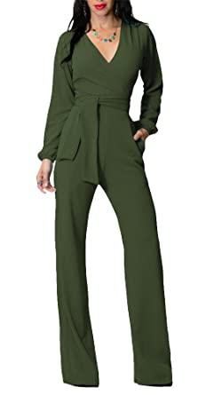 f7b14443fff4 Amazon.com  Flesser Womens V Neck Belted Wide Leg Pants High Waist Jumpsuit  Rompers with Pockets  Clothing