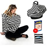 Nursing Breastfeeding Cover Scarf - Baby car seat Canopy Multi-Use Stretchy, BONUS Pillow case and eBook, carseat covers Universal Fit Best Baby Shower Gift