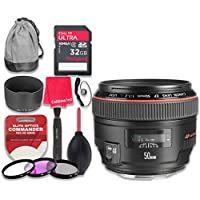 Canon EF 50mm f/1.2L USM Lens with 32GB Ultra Pro Speed Class 10 SDHC Memory Card + 3pc Filter Kit (UV-FLD-CPL) + Deluxe Sleeve + Celltime Microfiber Cleaning Cloth - International Version