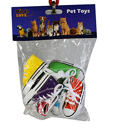 Birds LOVE 6 pk Mini Sneakers Shoes Toys for Birds, Cats, Ferrets, Rabbits, Guinea Pigs and Small Animals by Birds LOVE