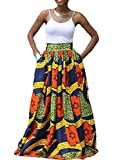 Women African Floral Printed Dashiki Casual Pleated A Line Maxi Skirt