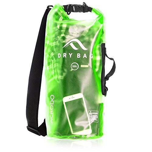 New Acrodo Waterproof Dry Bag Transparent Fresh Green 20 Liter Floating for Boating, Camping, and Kayaking With Shoulder Strap - Keeps Clothing & Electronics - Size To Wetsuit How
