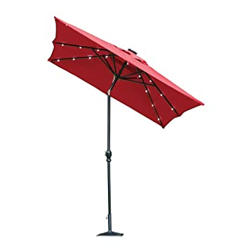 Hampton Bay 9 Ft. Rectangular Aluminum Solar Patio Umbrella In Scarlet