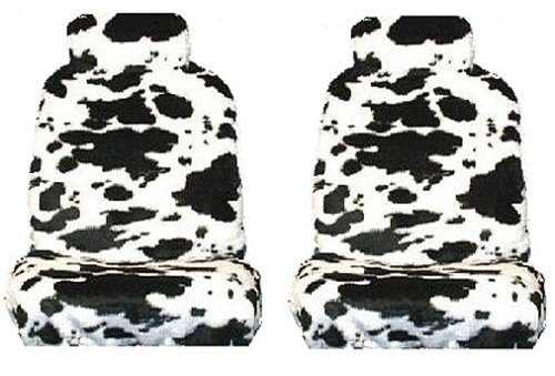 White Black Cow Animal Print Front Bucket Seat Cover w/ Headrest - Universal-Fit Set of 2 (Cow Seat Covers)