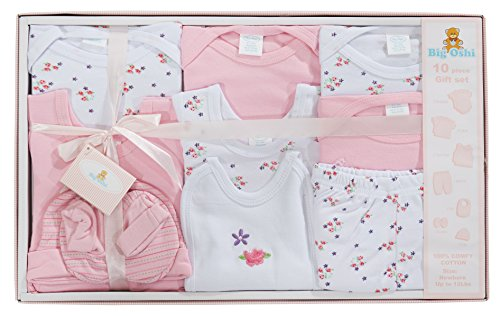 - Big Oshi 10 Piece Layette Newborn Baby Gift Set for Girls - Great Baby Shower or Registry Gift Box to Welcome a New Arrival - All Essentials - 2 Bodysuits, 4 Shirts, Bib, Pants, Booties, Cap, Pink