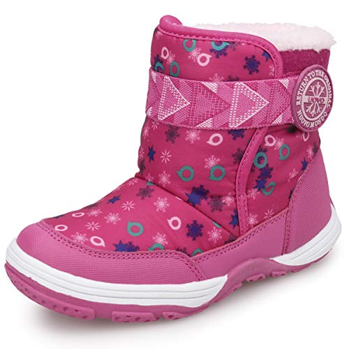 UOVO Boys Winter Snow Boots Ankle Boots for Kids Waterproof Slip Resistant Warm Outdoor (Little Kids) (11 M US Little Kid, Pink)