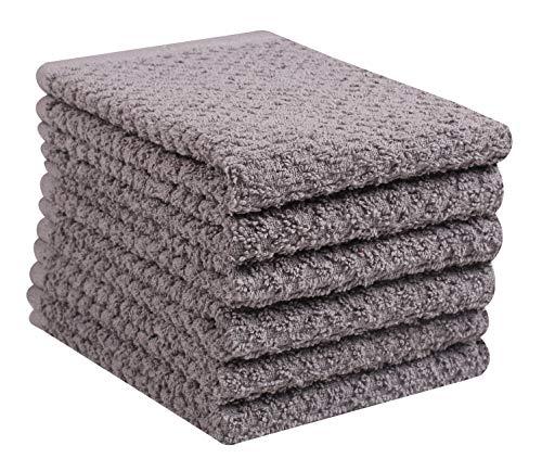 Glamburg 6 Pack Terry Kitchen Washcloth Dish Towels, Tea Towels 12x12 Gray, 100% Cotton Dish Towels and Dish Cloths, Bar Towels, Tea Towels, Bar Mop Dish Cloths, Cleaning Towels and Dishcloths Sets
