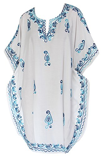 top tunica fit spogliatoio beachwear kimono vestito coprire abito sera tutto bianco bagno bikini in rilassato 1 short LA costume signore ricamato rayon da liscia caftano casuale LEELA qwT8zT