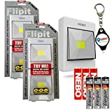 Nebo Flipit Contemporary 4 Pack Portable LED Light Magnetic Closet/Shed/Cabinet Mount with 3X Energizer AAA Batteries and LightJunction Keychain Light