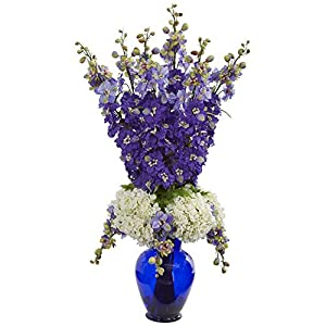 Nearly Natural 1657-PP Delphinium and Hydrangea Artificial Blue Vase Silk Arrangements Purple 33