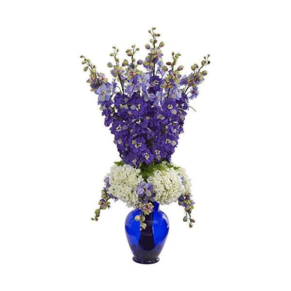 Nearly-Natural-1657-PP-Delphinium-and-Hydrangea-Artificial-Blue-Vase-Silk-Arrangements-Purple