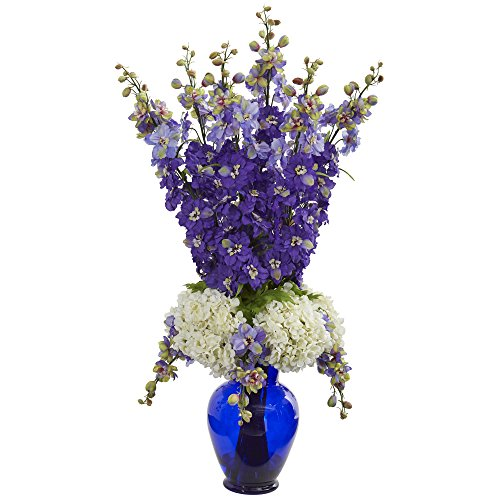 Nearly Natural 1657-PP Delphinium and Hydrangea Artificial Blue Vase Silk Arrangements Purple