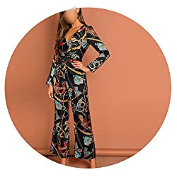 Super Lucky Shop Pants Waist Knot Chain Print V Neck Jumpsuit Going Out Office Lady Long Sleeve Multi L