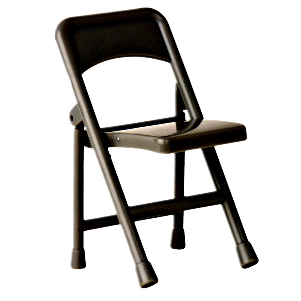 Black Plastic Toy Folding Chair for Wrestling Action Figures