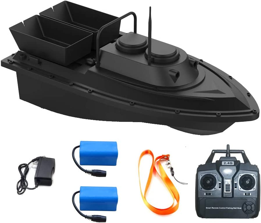2021 Upgrade Meknic Fish Bait Boat 2kg Loading 2pcs Tanks with Double Motors 500M/1640FT Remote Control Sea RC Fishing Bait Boat (RC Fishing Bait Boat)