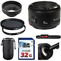 Canon EF 50mm f/1.8 II Lens Bundle + UV Filter + Polarizer Filter + 2 In 1 Lens Cleaning Pen + High Speed 32GB Memory Card + Tulip Hood + Deluxe Lens Case