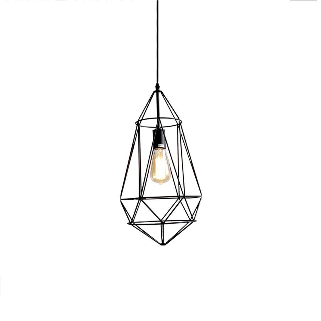 Nordic Industrial Style Wrought Iron Single Head Chandelier, Shop Lighting Chandelier Bar Table Lamp Retro Decorative Chandelier (A)
