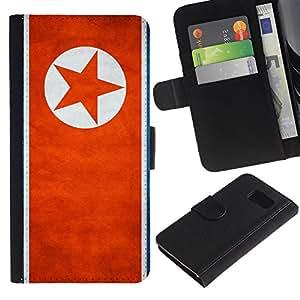 """Be-Star la tarjeta de Cr¨¦dito Slots PU Funda de cuero Monedero caso cubierta de piel Para Samsung Galaxy S6 ( Bandera nacional de la Serie-Corea del Norte"""" )"""