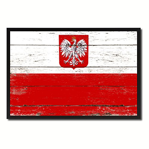 (Poland Country Shabby Chic Flag Black Framed Canvas Print Gifts Home Decor Wall Art Decoration)