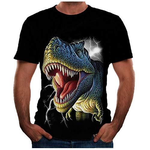 Men's T-Shirts Summer Casual 3D Animal Printed Short Sleeve Funny Tee Tops Black