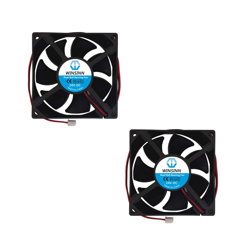 WINSINN 80mm Fan 24V Dual Ball Bearing Brushless 8025 80x25mm for Cooling PC Computer Case CPU Set-top Box Router Receiver DVR Playstation Xbox (Pack of 2Pcs)