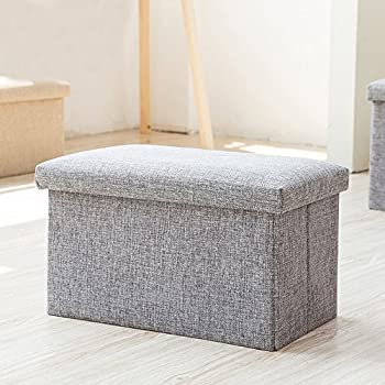 Inoutdoorkit FS-LN01 Linen Folding Organizer Storage Ottoman Bench Cube Foot  Stool, Footrest Step