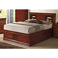 Louis Philippe 200439Q Queen Size Storage Bed with Headboard Rails and Slats and Footboard Storage Drawers in Cherry Finish