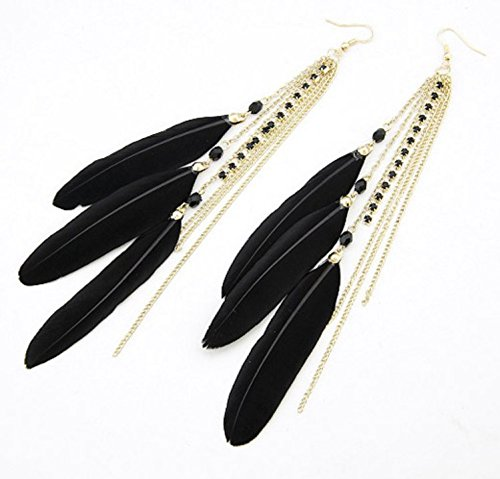 Leiothrix All-match Feather with Tassel Alloy Black Earrings for Women and Girls Apply to Wedding Party Casual