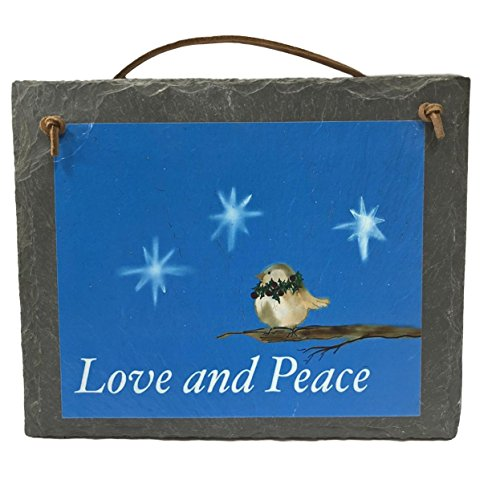 - Love and Peace Christmas Bird American Made Natural Slate Holiday Welcome Sign