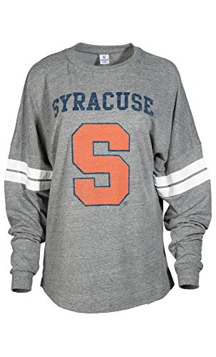 NCAA Syracuse Orange Betty Long Sleeve Tri-Blend Football Jersey T-Shirt, X-Large, Tri Grey/White