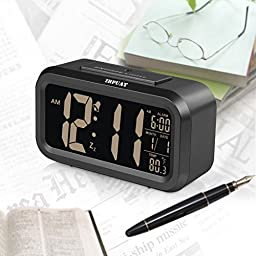 [Special Version] ZHPUAT Smart Light Alarm Clock with Dimmer Display on Black Screen, Both Cord and Batteries Supply, Easy Operation (Black)