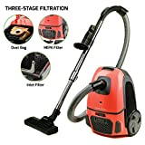 upright canister - Ovente Canister Vacuum with Tri-Level Filtration: Dust Bag, Outlet HEPA Filter, and Inlet Filter, 1400W, Energy-Saving Variable Suction, 1.5M Crush-Proof Hose, Automatic Cable Rewind, Coral (ST1600C)