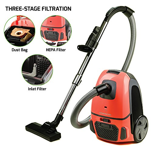 Ovente Electric Vacuum, 3-Stage Filtration with Hepa Filter, Energy-SAVING Speed Control, 1400W, Coral (ST1600C)